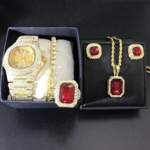 סט קובני שעון צמיד שרשרת טבעת ועגילים לגבר