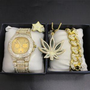 סט קובני יוקרתי צמיד שעון שרשרת גראס וטבעת לגבר