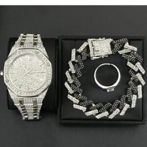סט שעון צמיד קובני וטבעת לגבר