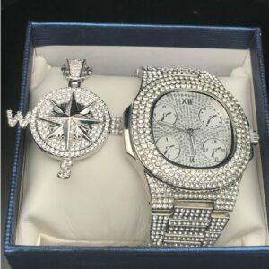סט שעון ושרשרת מצפן מגולדפילד וקריסטלים