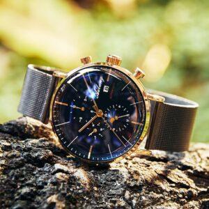 שעון שוויצרי אוטומטי לגבר עם רצועת רשת