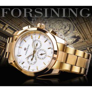 שעון אוטומטי לגבר עם רצועה מוזהבת