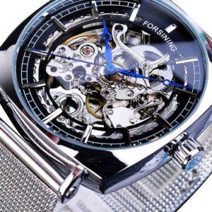 שעון אוטומטי לגבר עם רצועת רשת