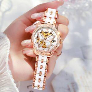 שעון אוטומטי עם רצועה קרמיקה לאישה